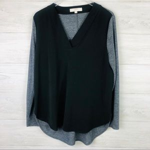 LOFT Two Tone Gray and Black V Neck Blouse